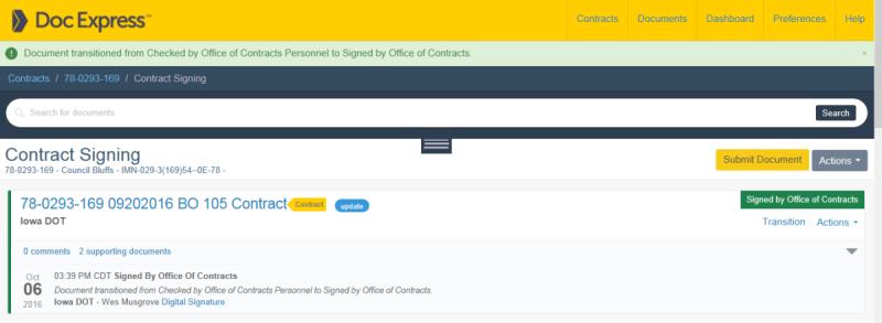 Doc Express Contract Signature Screenshot
