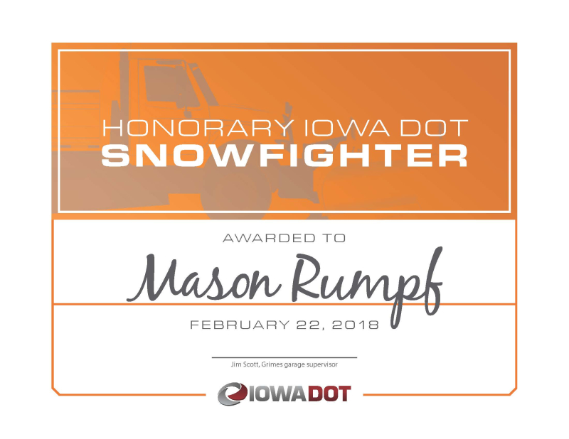 Honorary Snowfighter Certificate