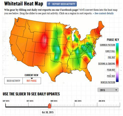 Rut Heat Map Message Monday   Nov. 2, 2015   Whole Lotta Ruttin' Going On