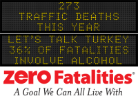 Message Monday - Let's talk turkey, 36% of fatalities involve alcohol
