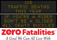 Message Monday - If you're a rider, don't be a slider. All seats buckled