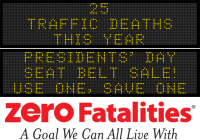 Message Monday - Presidents' Day Seat Belt Sale! Use one, Save One