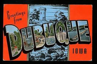 Large-Letter-postcard-linen-Dubuque-Iowa-IA-Eagle