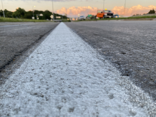 Close up of new paint on I-235 in Des Moines