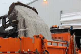 Salt being loaded into a truck