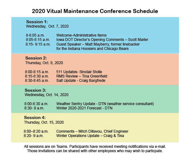 Maintenance conference schedule