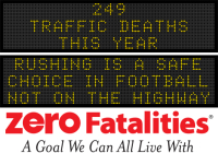Message Monday - Rushing is a safe choice in football, not on the highway